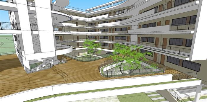 现代创意立体交流空间连廊休息平台曲线有机式中小学校园规划教学楼设计(5)