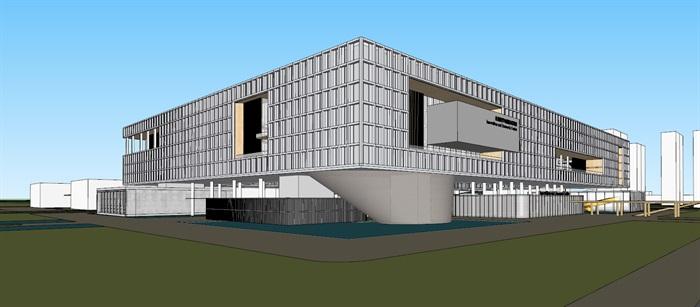 现代创意矩阵式窗格表皮大型科学城研究院办公中心写字楼(2)