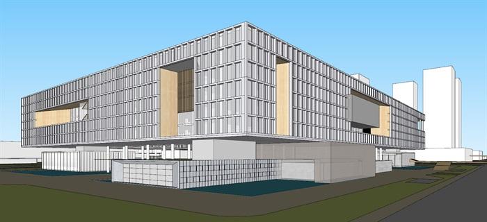 现代创意矩阵式窗格表皮大型科学城研究院办公中心写字楼(3)