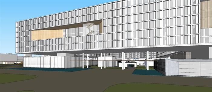 现代创意矩阵式窗格表皮大型科学城研究院办公中心写字楼(5)