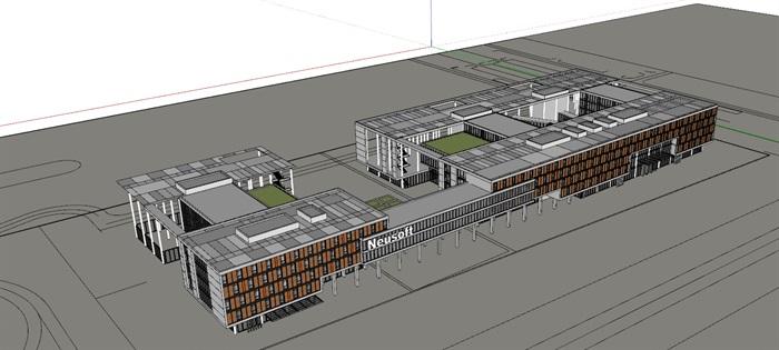 现代创意木百叶格栅表皮软件园创业园区办公写字楼(1)