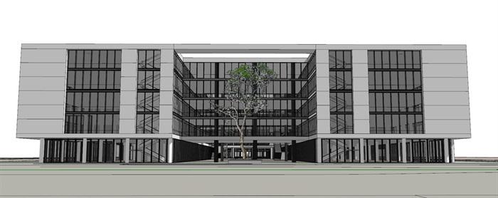 现代创意木百叶格栅表皮软件园创业园区办公写字楼(2)