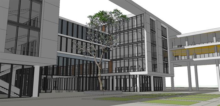 现代创意木百叶格栅表皮软件园创业园区办公写字楼(5)