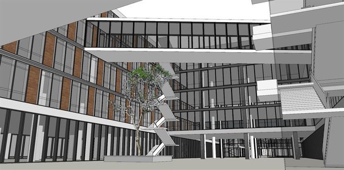 现代创意木百叶格栅表皮软件园创业园区办公写字楼(6)