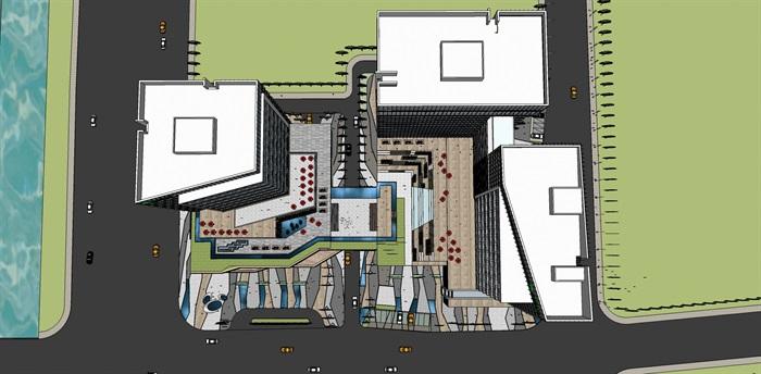 现代城市商业综合体带屋顶花园景观设计(5)