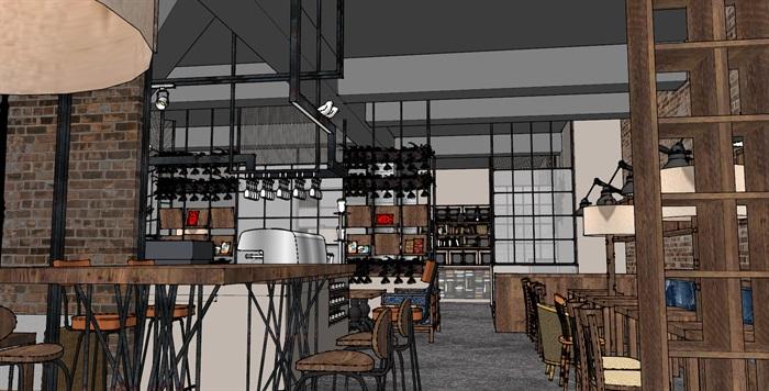 现代工业粗犷风木家具暖色调loft休闲咖啡厅茶餐厅(1)