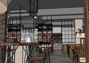 现代工业粗犷风木家具暖色调loft休闲咖啡厅茶餐厅
