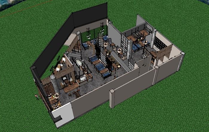 现代工业粗犷风木家具暖色调loft休闲咖啡厅茶餐厅(2)
