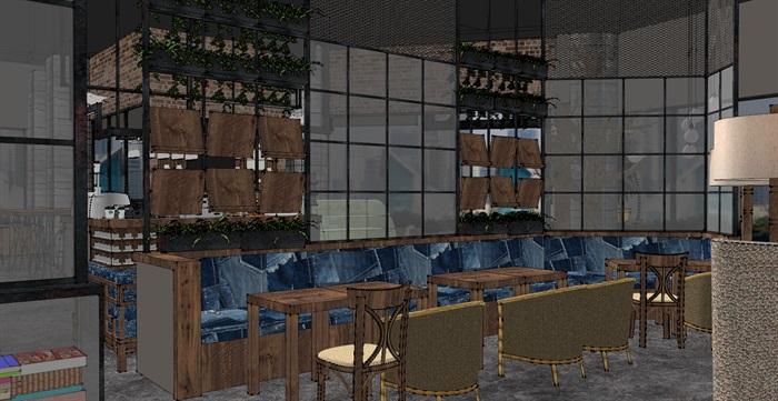 现代工业粗犷风木家具暖色调loft休闲咖啡厅茶餐厅(3)