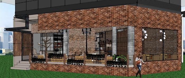 现代工业粗犷风木家具暖色调loft休闲咖啡厅茶餐厅(4)