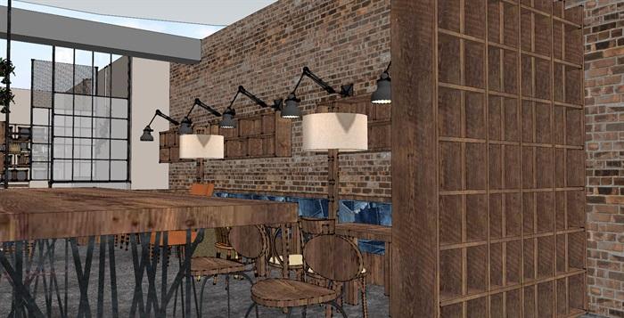 现代工业粗犷风木家具暖色调loft休闲咖啡厅茶餐厅(5)