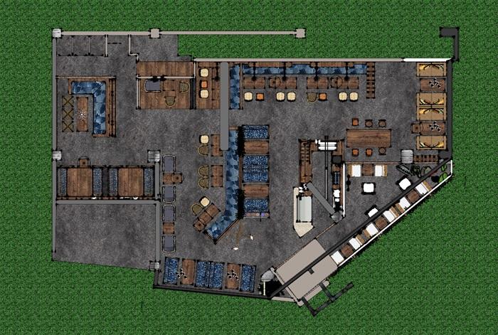现代工业粗犷风木家具暖色调loft休闲咖啡厅茶餐厅(6)