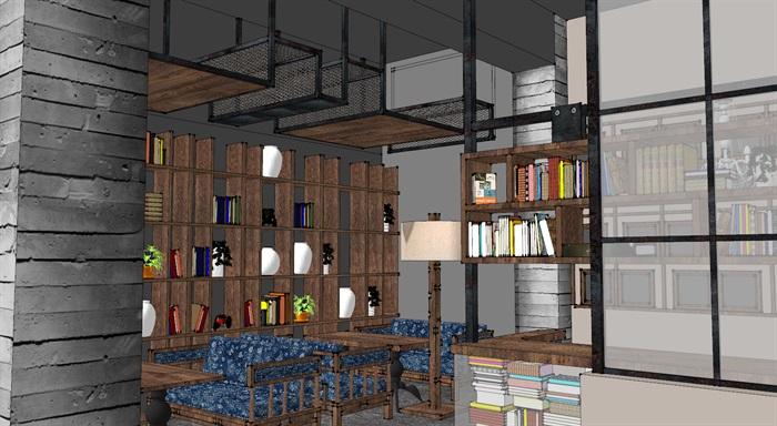 现代工业粗犷风木家具暖色调loft休闲咖啡厅茶餐厅(7)
