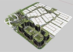 现代创意白色竖条格栅表皮围合式住宅配套商业中心步行街售楼展示区欧式经典住宅楼规划