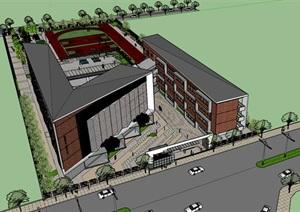 现代创意折板屋顶砖表皮围合式办公行政教学楼综合建筑设计