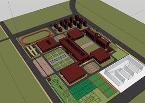 现代红砖表皮庄严对称党校教育培养基地中心规划设计