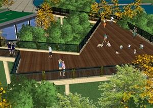 滨水景观步行带市民休闲公园景观廊桥天桥地景式公园文化小建筑