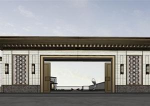 现代创意高?#21496;?#20856;中式风圆弧形售楼示范区文化展示活动中心