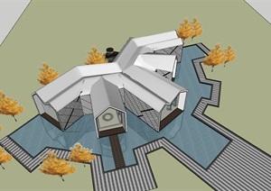 现代创意连续折板坡屋顶金属表皮售楼示范区文化展示活动中心