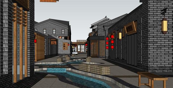 现代新中式砖木表皮商业旅游特色小镇文化民俗村规划商业步行水街文化展示中心中式精品酒店(8)