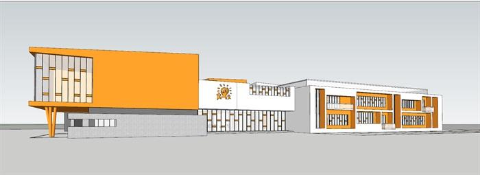 现代创意暖色调表皮彩色窗框活动立体平台幼儿园托儿所设计(2)