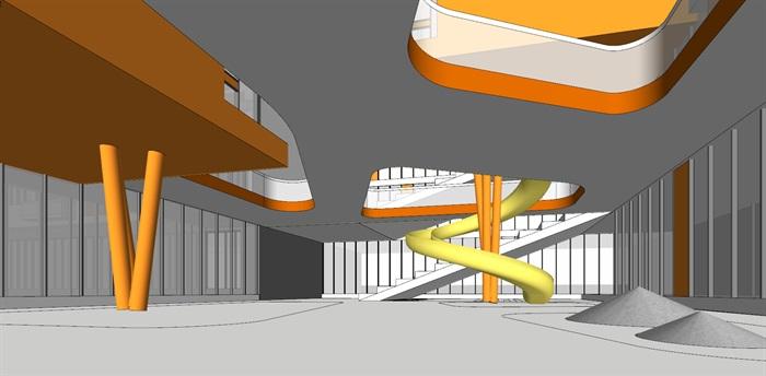 现代创意暖色调表皮彩色窗框活动立体平台幼儿园托儿所设计(3)