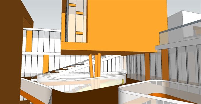 现代创意暖色调表皮彩色窗框活动立体平台幼儿园托儿所设计(4)