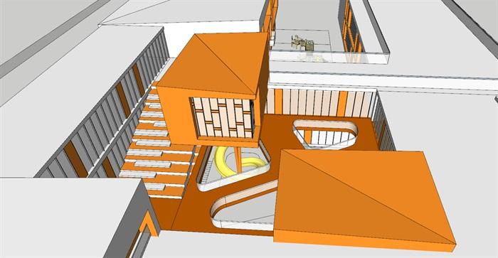 现代创意暖色调表皮彩色窗框活动立体平台幼儿园托儿所设计(5)