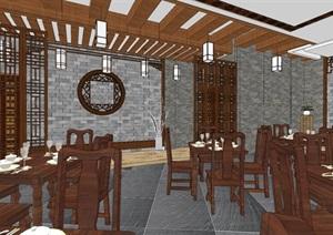 现代典雅高端中式仿古餐厅