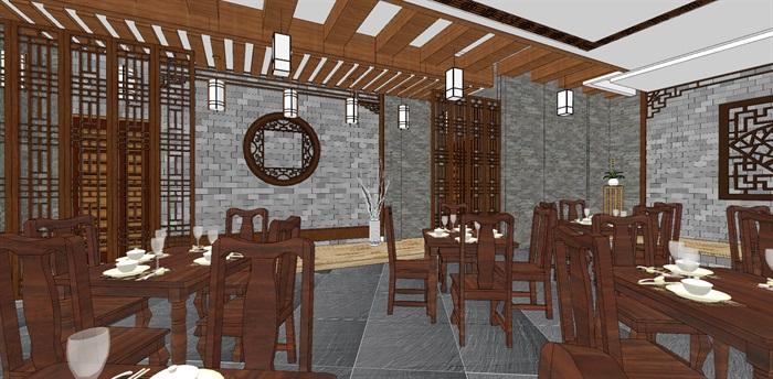 现代典雅高端中式仿古餐厅(1)