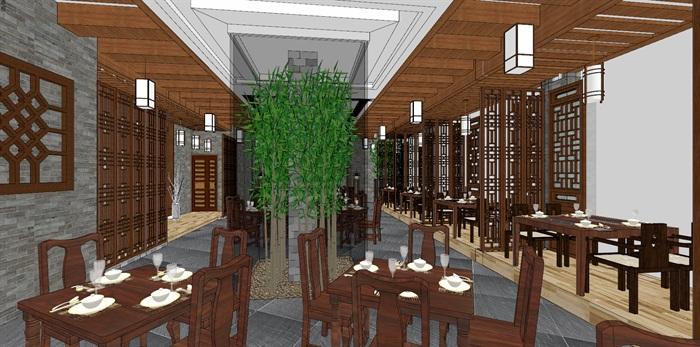 现代典雅高端中式仿古餐厅(2)