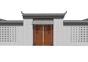 中式院门乡村门头古典风格别墅庭院门头精品SU(草图大师)模型