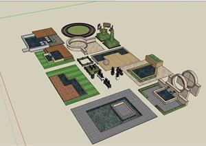 园林景观种植池、水池等多个设计SU(草图大师)模型