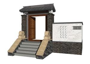 中式门头大门院门古典风格门头别墅庭镂空围墙精品SU(草图大师)模型