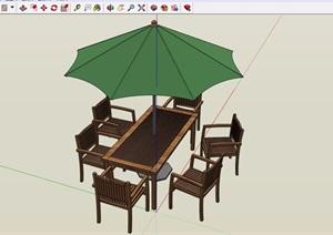 现代详细完整的伞桌椅素材设计SU(草图大师)模型