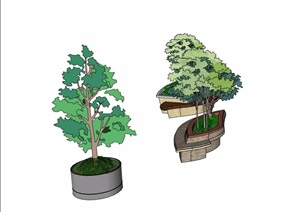 三个不同造型的树池设计SU(草图大师)模型