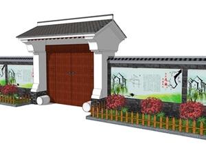 中式大门乡村门头古典风格别墅庭院门头精品SU(草图大师)模型