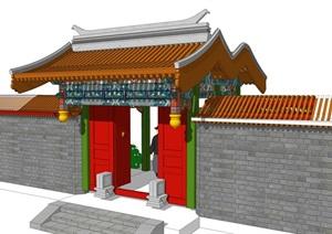 中式彩绘大门头乡村木结构门头古典风格门头精品SU(草图大师)模型