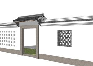 中式门头乡村院门古典风格镂空围墙精品SU(草图大师)模型