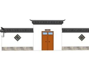 中式门头乡村院门古典风格别墅庭院门头精品SU(草图大师)模型