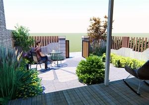 现代中式庭院景观环境SU(草图大师)模型