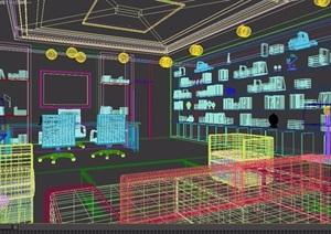详细的整体办公空间装饰3d模型