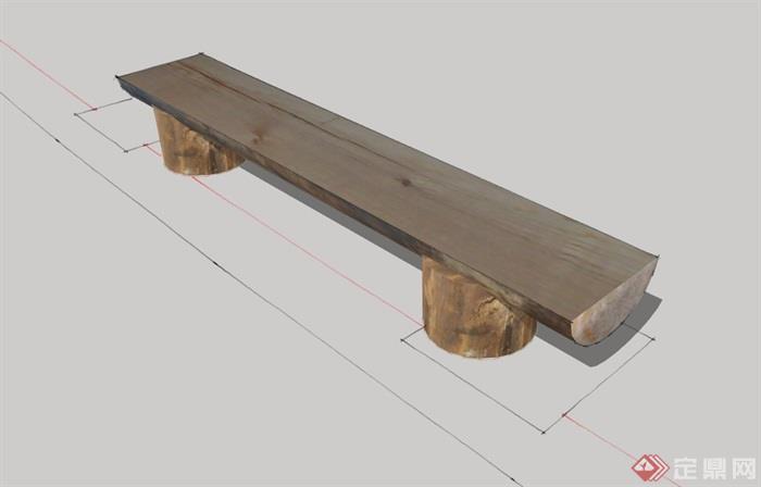 全木质园林景观坐凳设计su模型