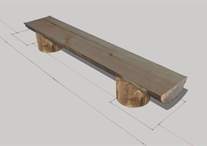全木质园林景观坐凳设计SU(草图大师)模型