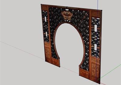 古典中式风格屏风门素材设计su模型