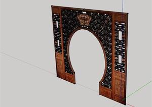 古典中式风格屏风门素材设计SU(草图大师)模型
