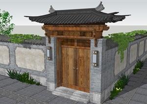 精品古典宅院大门SU(草图大师)模型中式风格古建门头木结构别墅会所大门设计方案