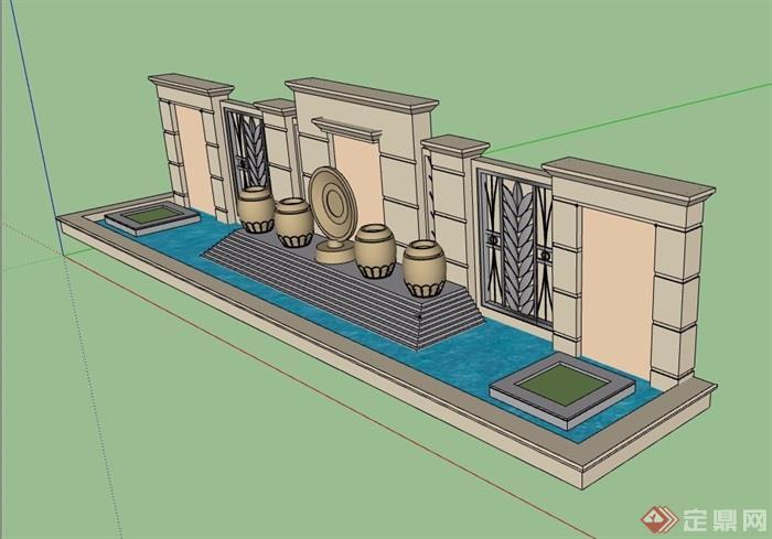 详细的水池景观墙素材设计su模型