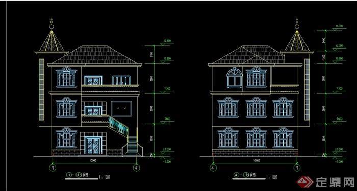 欧式三层农村别墅设计cad方案图
