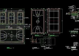 体育篮球运动场设计cad施工图